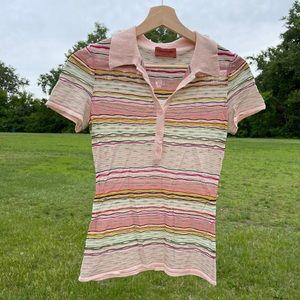 VTG Missoni Colorful Striped Knit Polo Shirt
